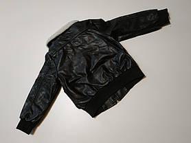 Куртка для мальчиков PU-кожа  демисезонная утепленная черная 5 лет, фото 3