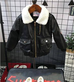 Куртка для мальчиков PU-кожа  демисезонная утепленная черная 5 лет, фото 2