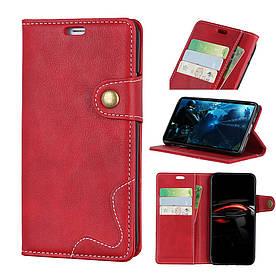 Чехол книжка для Huawei P30 Lite боковой с отсеком для визиток, S-line, красный