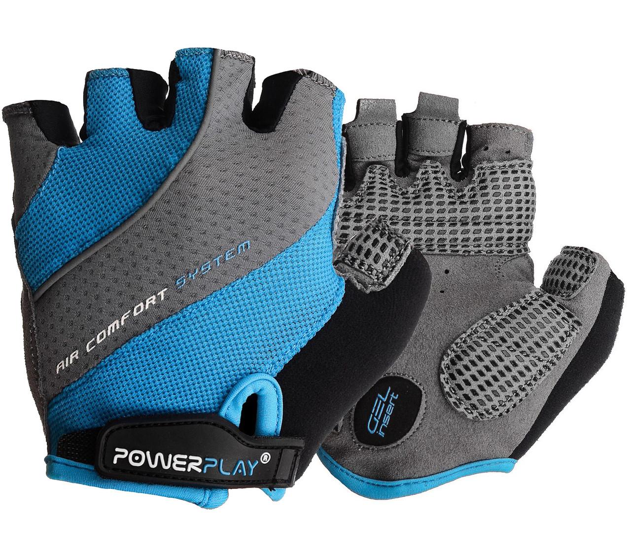 Велорукавички PowerPlay 5023 Блакитні XS