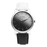 Часы женские OKTLME наручные кварцевые с чёрно-белым кожаным ремешком и чёрно-белым циферблатом