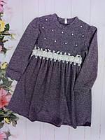 Платье детскоедля девочки 3-7лет, темно-серое