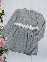 Платье детскоедля девочки 3-7лет, серое