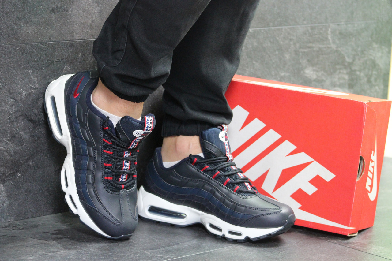 5d555526 Молодежные кроссовки Nike Air Max 95, темно-синие с белым (Реплика ...