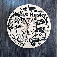 Деревянные часы на стену с изображением Сибирского хаски CL-0218, фото 1