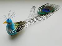 Декоративная птичка, павлин голубой 15см