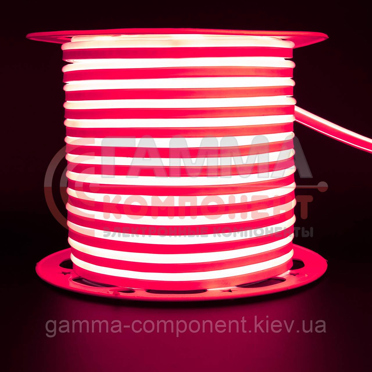 Светодиодный неон 220В красный AVT smd 2835-120 лед/м 7Вт/м, герметичный. Бухта 50 метров.