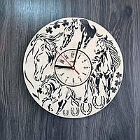 Универсальные часы настенные из натурального дерева Лошади CL-0227, фото 1