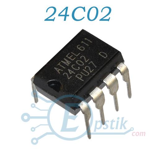 24C02, память энергонезависимая, EEPROM 2 кбит, DIP-8