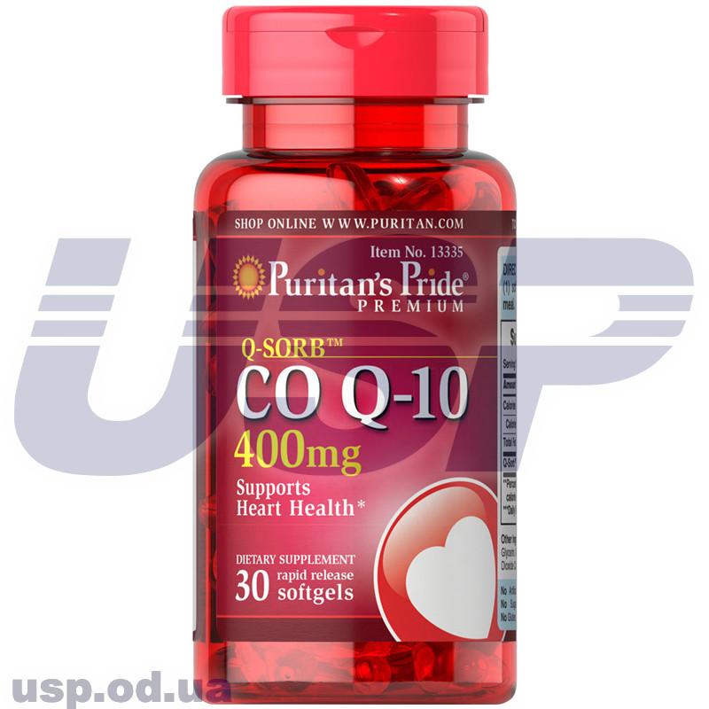 Puritan's Pride Q-SORB™ Co Q-10 400 mg для сердца и сосудов антиоксидант коэнзим ку10 против старения