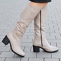 Женские зимние сапоги на широком каблуке кожаные бежевые удобная колодка мягкая резиновая подошва (Код: 1303а)