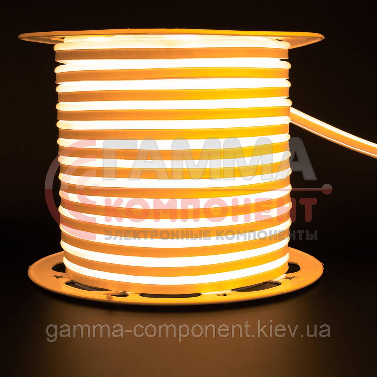 Светодиодный неон 220В желтый AVT smd 2835-120 лед/м 7Вт/м, герметичный. Бухта 50 метров.