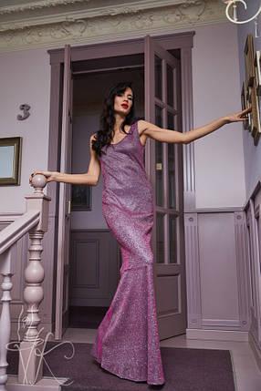 Женское вечернее платье в пол сиреневого цвета с люрексом 42-46р, фото 2