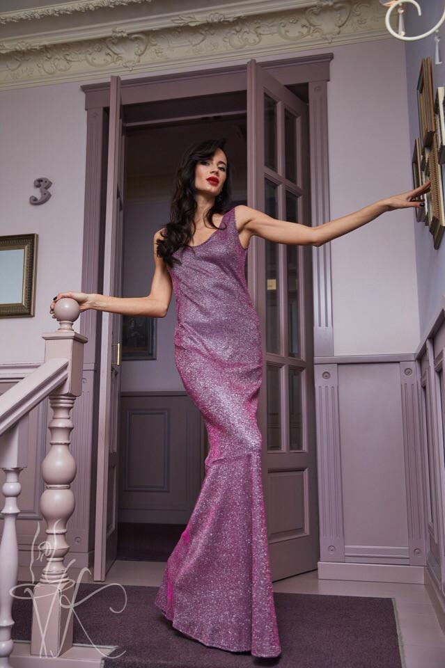 Женское вечернее платье в пол сиреневого цвета с люрексом 42-46р