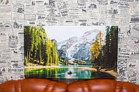 "Картина на холсте ""Пейзаж. Озеро. Горы. Лодка. Природа"". 60х40 см."