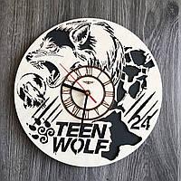 Круглые бесшумные настенные часы из дерева Волчонок CL-0259, фото 1