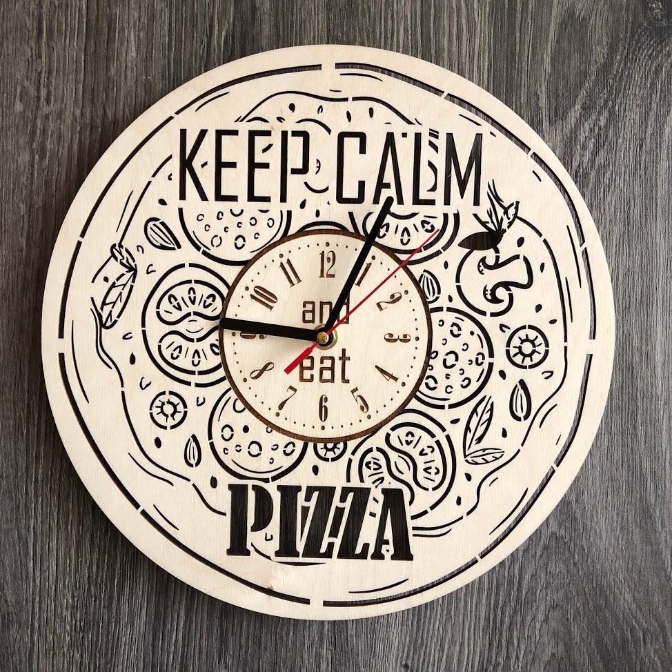 Деревянные настенные часы из дерева Пицца CL-0265