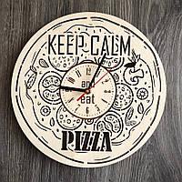 Деревянные настенные часы из дерева Пицца CL-0265, фото 1