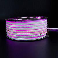 Светодиодный неон 220В розовый SMD 2835-120 лед/м 12Вт/м, герметичный