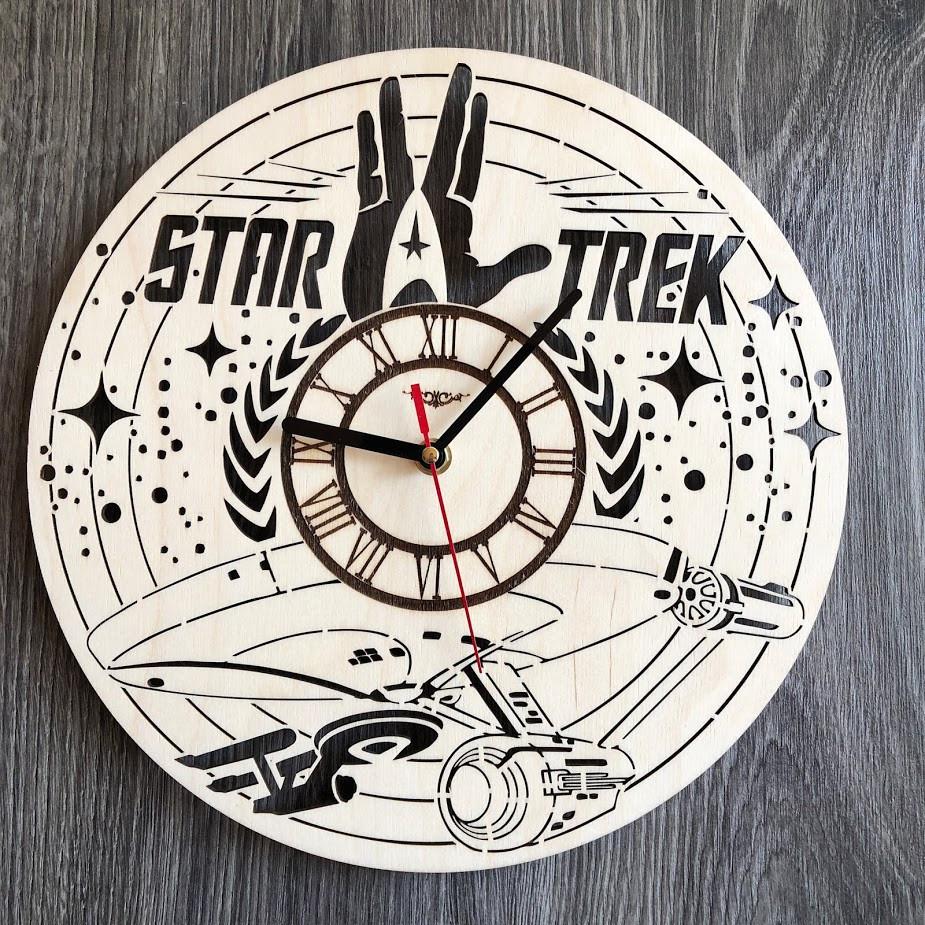 Дизайнерские настенные часы из дерева Звездный путь CL-0297