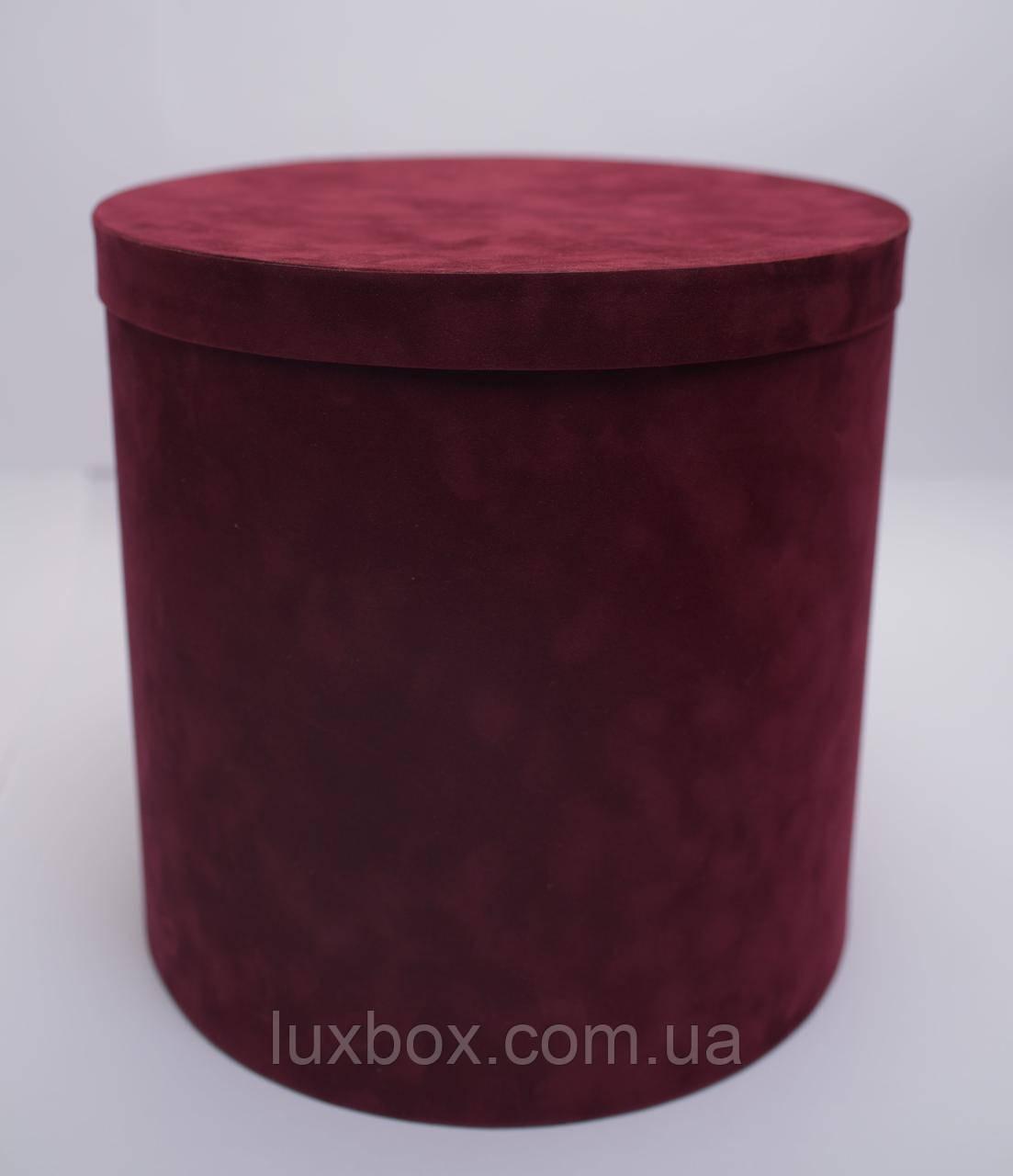 Шляпна коробка Велюрова(бархатна коробка) h30/d30