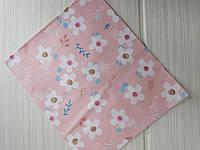 Отрез сатина Крупные белые цветы на розовом 40*50 см