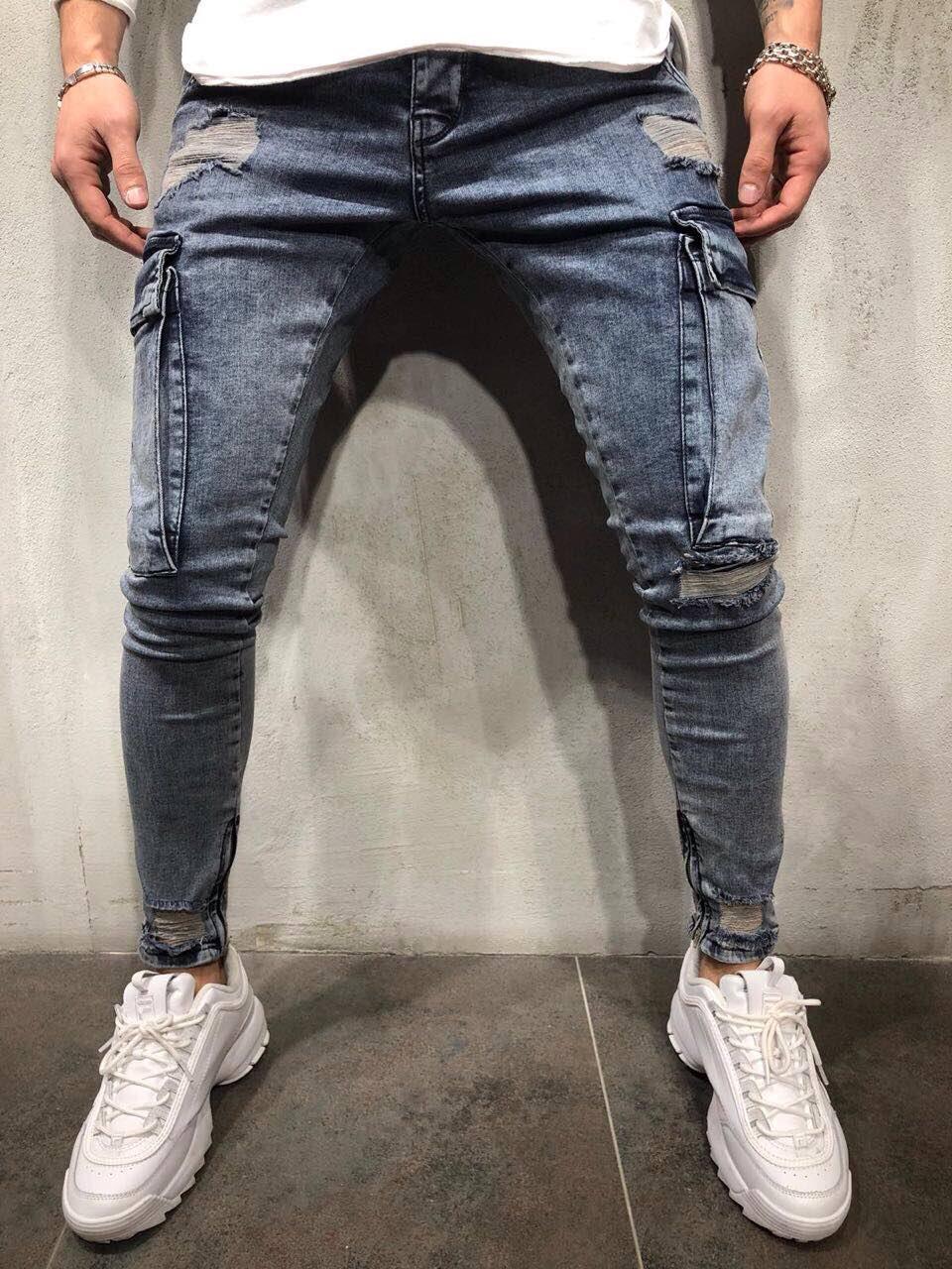 ee4b983aac3 Мужские джинсы светлые зауженные карманы карго - Krossovki в Киеве