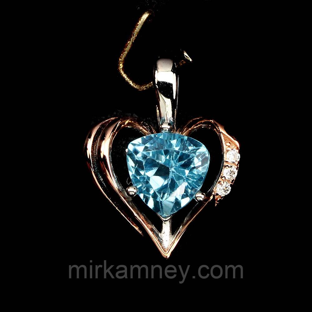 Кулон в виде сердца. Натуральный голубой топаз. Серебро, покрытие золотом.
