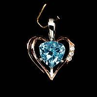 Кулон в виде сердца. Натуральный голубой топаз. Серебро, покрытие золотом., фото 1