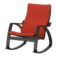 ПОЭНГ Кресло-качалка, черно-коричневая с оранжево-красной подушкой