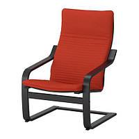 ПОЭНГ Кресло, черно-коричневая с оранжево-красной подушкой