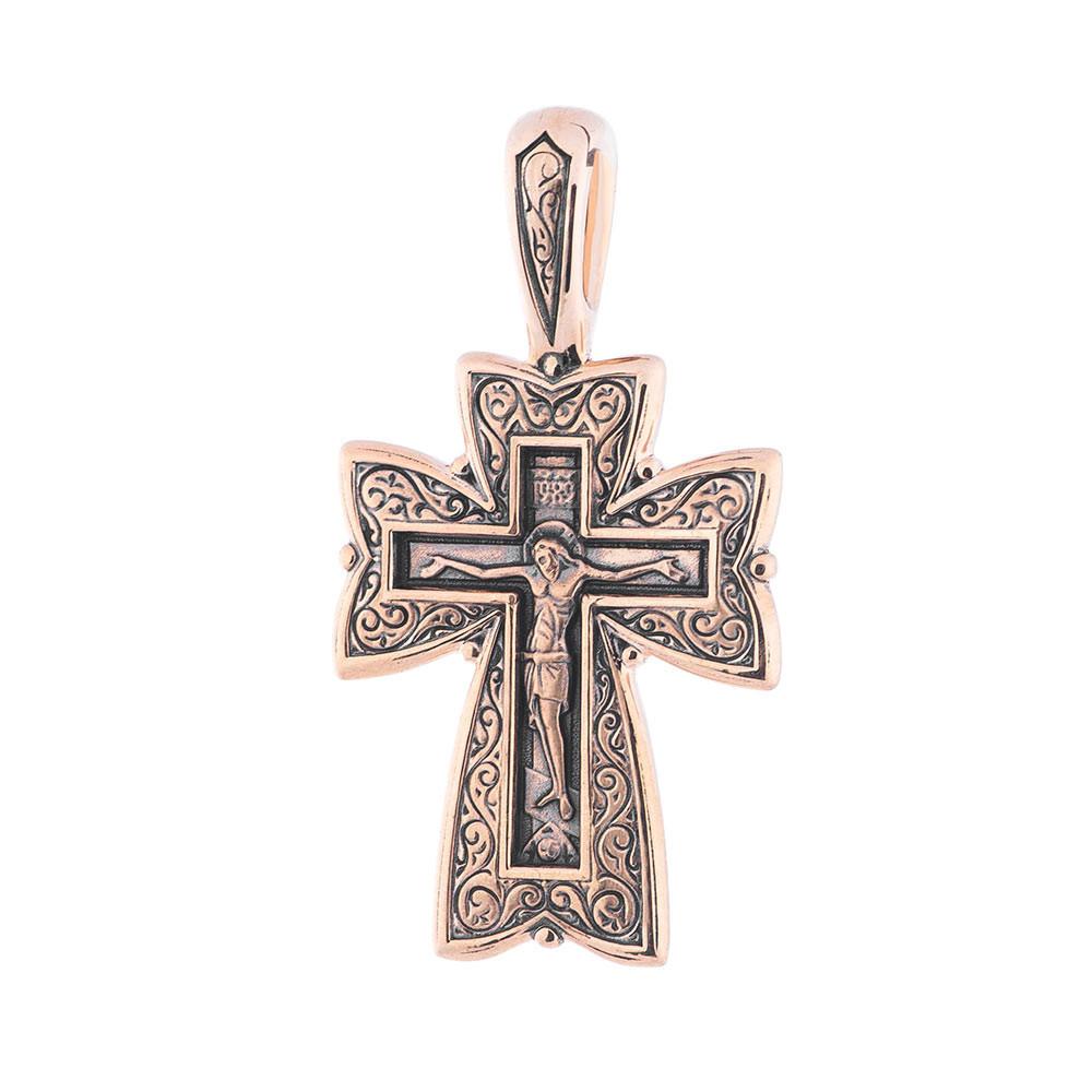 """Золотий хрест """"Розп'яття. Молитва Господу"""" гп02677"""