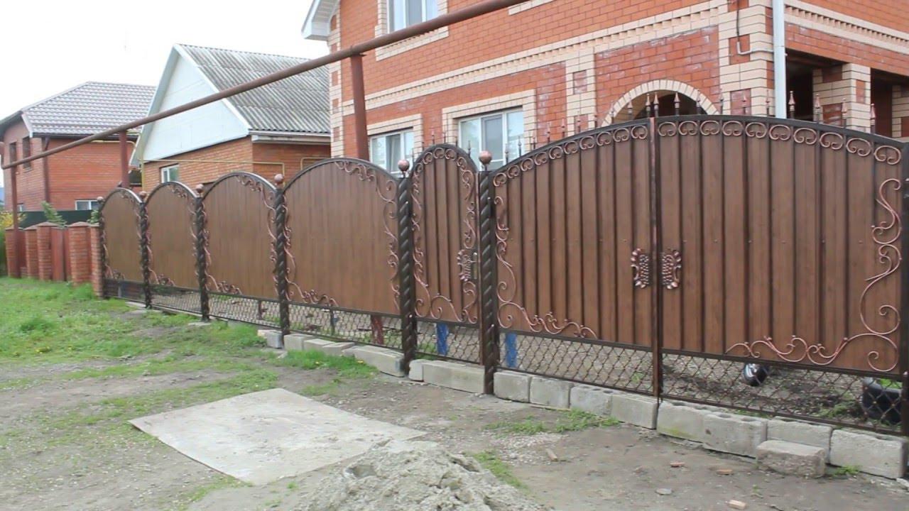 Ворота с калиткой и ковкой