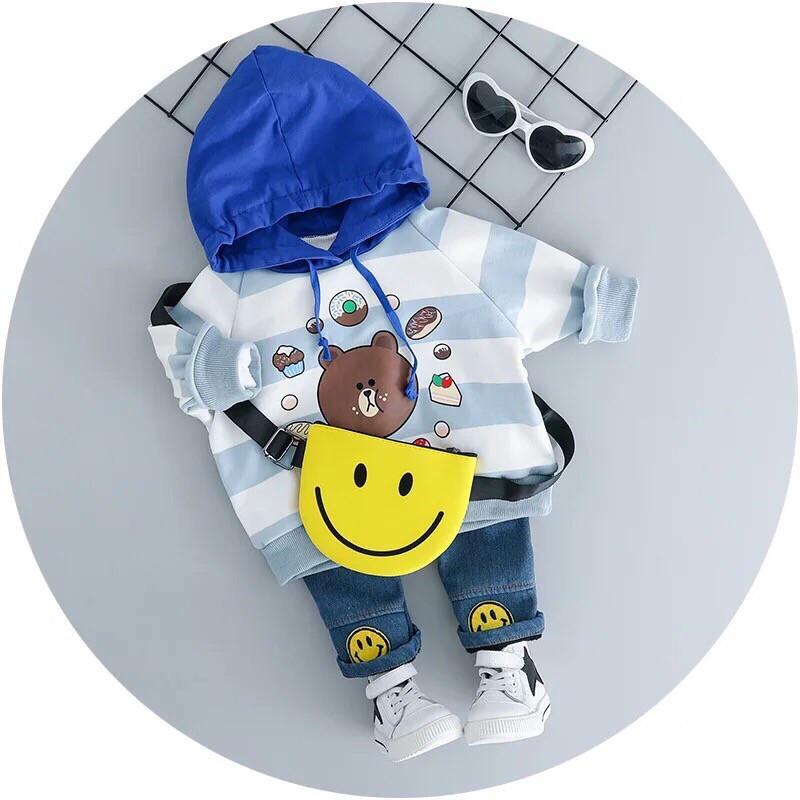 Костюм двойка на  мальчика  Мишка кофта+джинсы голубой 1 год