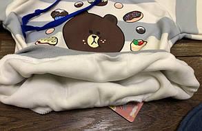 Костюм двойка на  мальчика  Мишка кофта+джинсы голубой 1 год, фото 2