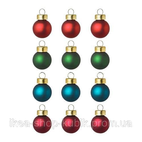ИКЕА VINTER 2018 Украшение, шар, красный, зеленый, синий, 2 см