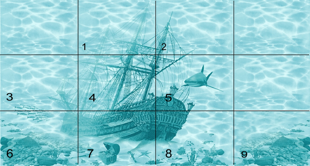 Панно Лазурь Корабль (9шт)