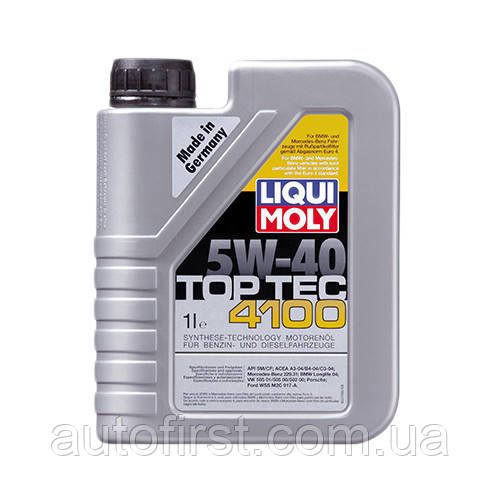 LIQUI MOLY Масло 5W40 Top Tec 4100 (1L) (Longlife-04/WSS-M2C 917-A/MB 229.31/VW 502.00/505.00/505.01)