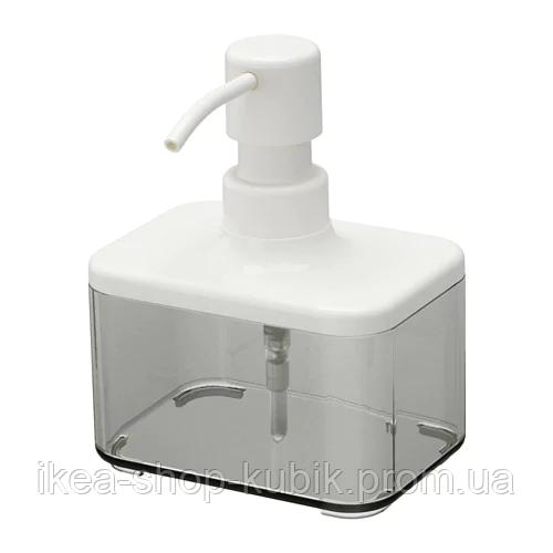 ИКЕА BROGRUND Дозатор для жидкого мыла, прозрачный серый, белый