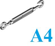 Талреп крюк-кольцо, нержавеющий А4, DIN 1480
