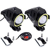 Светодиодные мото фары  +переключатель , led линзы фары для мотоцикла / авто / квадроцикл с ДХО automotosvet