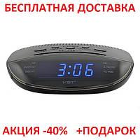 Часы сетевые VST 908-1 красные, электронные радиочасы, сетевые часы с радио, электронные часы с подсветкой
