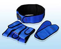 Турмалиновый комплект синий (напульсники, пояс, наколенники)
