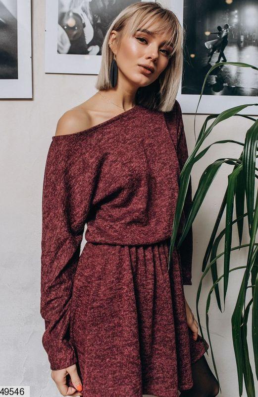 Демисезонное платье выше колен юбка солнце клеш ангора длинный рукав бордовое