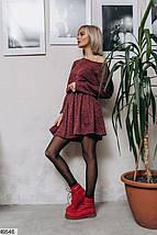 Демисезонное платье выше колен юбка солнце клеш ангора длинный рукав бордовое, фото 2