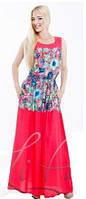 Летний длинный сарафан кораллового цвета, сарафан яркий молодежный с цветочным принтом
