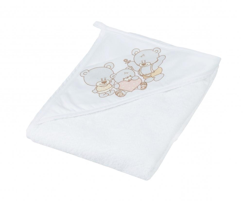 Детское мягкое махровое полотенце Tega Мишка 100x100 MS - 015 White
