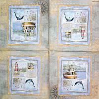Салфетка декупажная Корабль, маяк и дельфин 1082