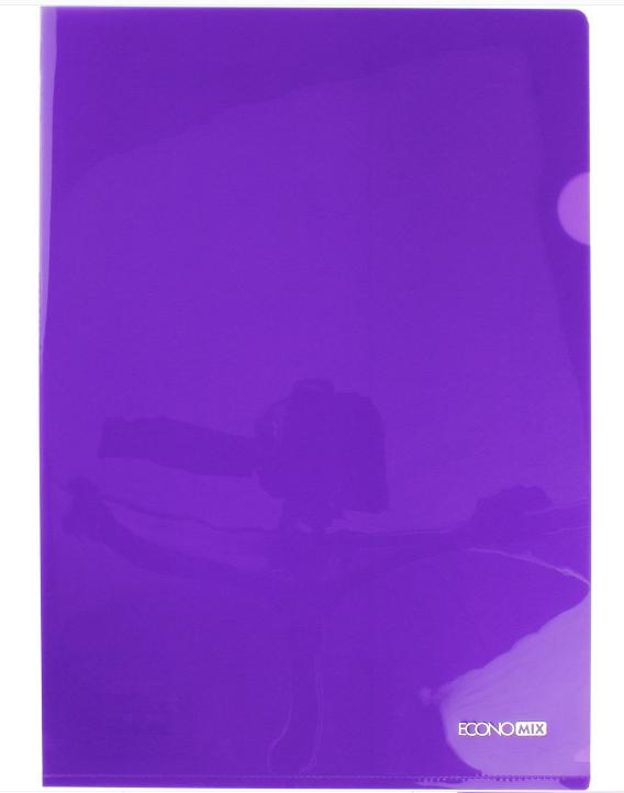 Папка уголок А4 Экономикс, 180 мкм фактура глянец фиолетовая E31153-12