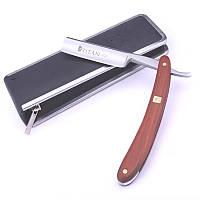 Опасная бритва TITAN Т0005 6/8 дюйма, ручка красное дерево + кожаный ремень + воск